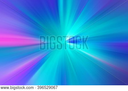 Abstract Radial Zoom Blur Surface Of Blue, Lilac, Pink Tones. Abstract Blue Background With Radial,