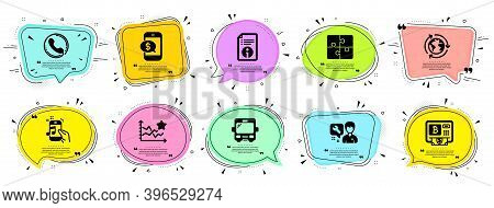 Technology Icons Set. Speech Bubble Offer Banners. Vector Coupon Badge. Included Icon As Repairman,