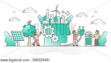 Green Thinking As Alternative Electricity Power Usage Support Outline Concept. Sustainable Urban Env