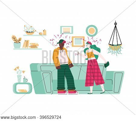 Multi-ethnic Couple Quarreling And Family Conflict, Flat Cartoon Vector Illustration Isolated On Whi