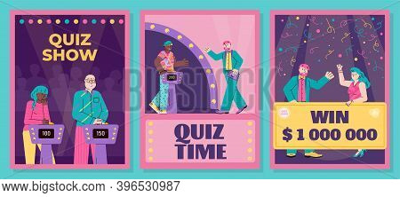 Quiz Show Banners Or Posters Set With Cartoon Characters, Flat Vector Illustration On Bright Backgro