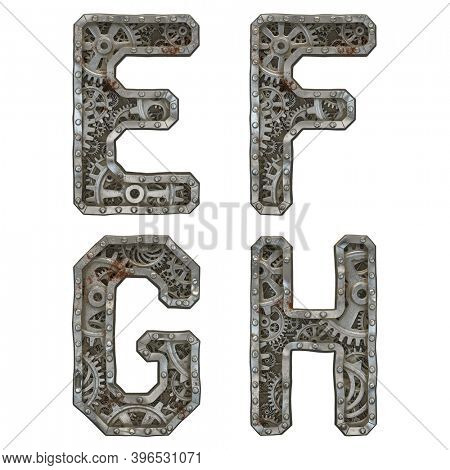 Mechanical alphabet made from rivet metal with gears on white background. Set of letters E, F, G, H. 3D rendering