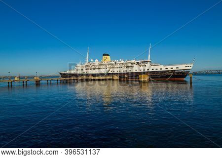 Lisbon, Portugal - October 30, 2020 - View of ship named Funchal in the pier cais da matinha