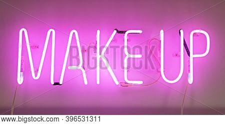 Shining Makeup Pink Neon Label. Cosmetics Promotion.