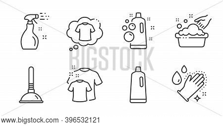 T-shirt, Clean T-shirt And Washing Hands Line Icons Set. Shampoo, Clean Bubbles And Hand Washing Sig