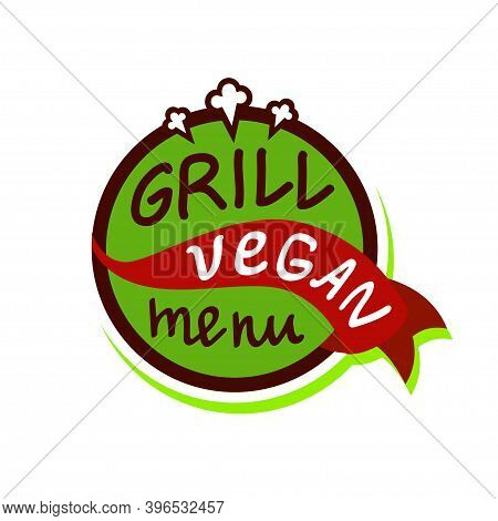 Vegan Menu Concept Design. Grill. Organic Food. Hand Drawn Vector Illustration. Can Be Used For Farm