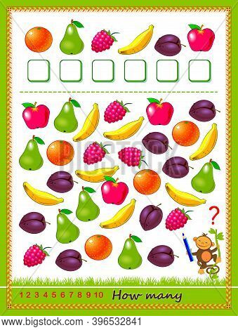 Math Education For Children. Count Quantity Of Fruits And Write Numbers. Development Counting Skills