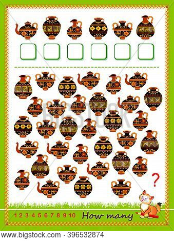 Math Education For Children. Count Quantity Of Antique Vases And Write Numbers. Developing Counting