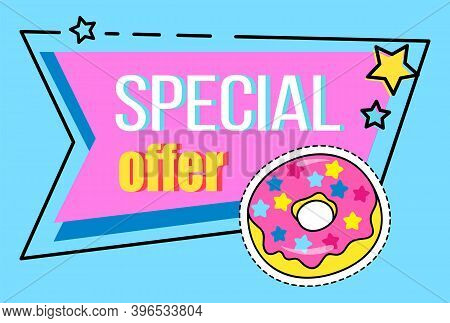 Big Sale Special Offer With Inscription And Cartoon Donut In Pink And Blue Colors. Super Sale Best P