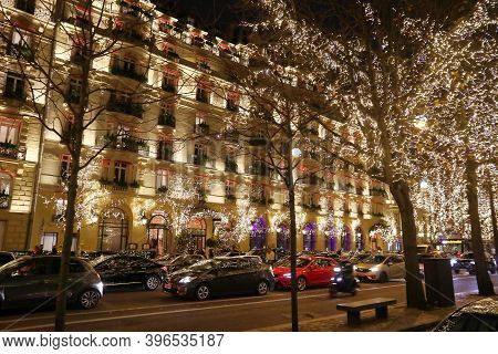 Paris, France - December 10, 2019: Christmas Decorations In Avenue Montaigne Of Paris, France. Paris
