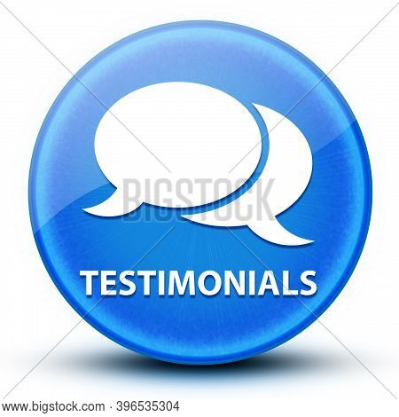 Testimonials Eyeball Glossy Blue Round Button Abstract Illustration