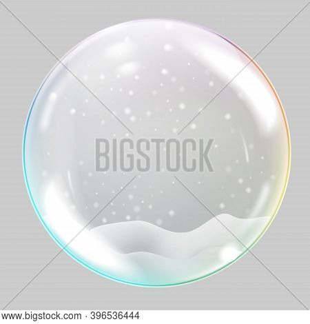 Christmas Glass Sphere. Christmas Snow Globe On Transparent Background. Vector Illustration.