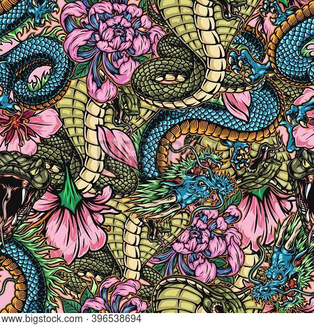 Japanese Colorful Vintage Seamless Pattern With Poisonous Snakes Fantasy Dragons Chrysanthemum And S