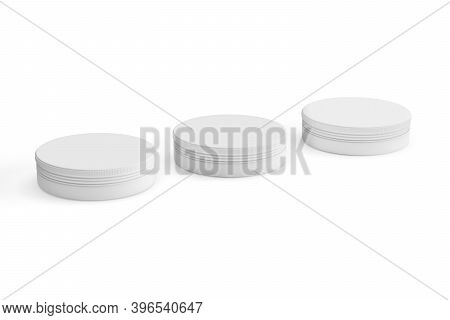 Cosmetic Jar Mockup - Three Cosmetic Jars On White Background - 3d Render