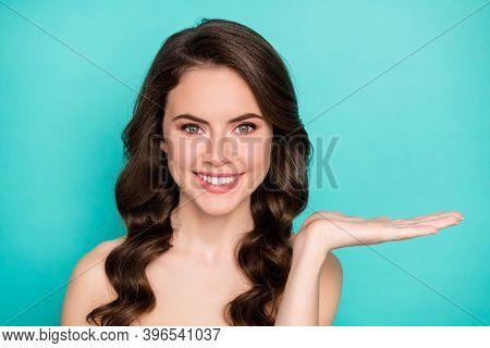 Closeup Photo Of Beautiful Curly Lady Hold Open Arm Novelty Product Spa Salon Procedure Cream Balm A