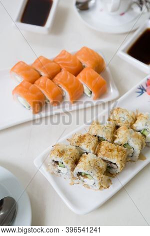 Japanese Sushi Rolls Served For Lunch In A Cafe