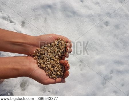 Mellow Heart Shaping Female Hands Above Sea And Beach