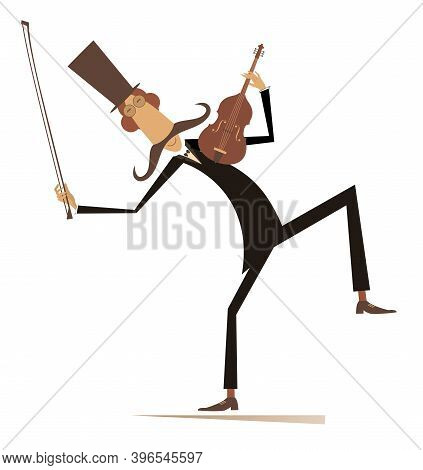 Long Mustache Man In The Top Hat With Violin And Fiddlestick Isolated On White Illustration