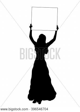 Silhouette Woman Holds Banner Placard Blank White Sheet For Text Space. Illustration Symbol Icon