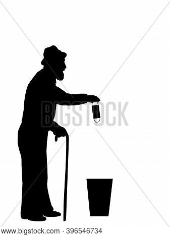Silhouette Of Grandfather Throws Medical Mask Into Trash. Illustration Symbol Icon