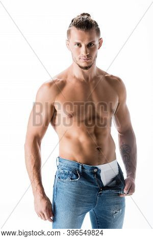 Shirtless Man In Jeans Posing Isolated On White