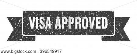 Visa Approved Grunge Vintage Retro Band. Visa Approved Ribbon