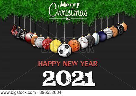 Merry Christmas And Happy New Year. Soccer, Football, Basketball, Tennis, Baseball, Volleyball, Golf