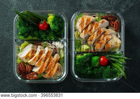 Healthy Meal Prep Containers With Green Beans, Chicken Breast And Broccoli. A Set Of Food For Keto D