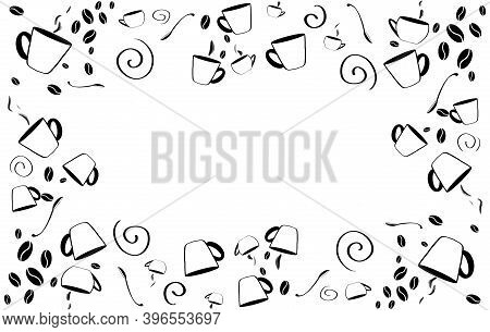 Coffee Beans In Coffee Cup On White. Cup Of Coffee. Latte, Cappuccino, Americano. Illustration.