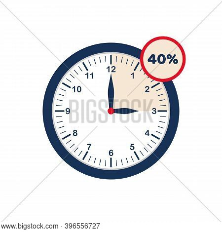 Clock Showing Discounted Time. Limited Time Offer. Hour Interval With 40% Discount. From 12 To 3 O'c