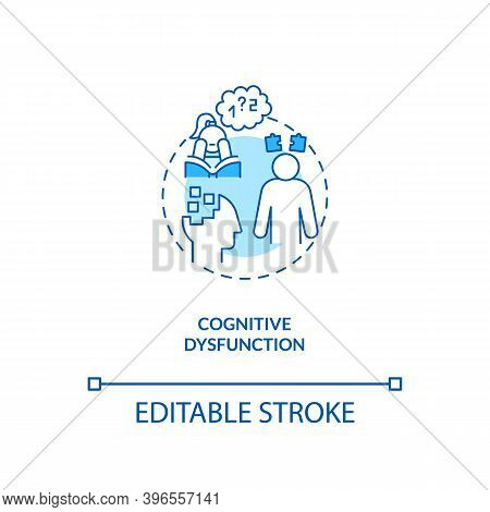 Cognitive Dysfunction Concept Icon. Cfs Symptom Idea Thin Line Illustration. Experienced Problems Wi