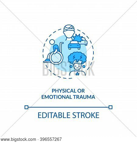 Physical And Emotional Trauma Concept Icon. Cfs Cause Idea Thin Line Illustration. Fatigue And Exhau