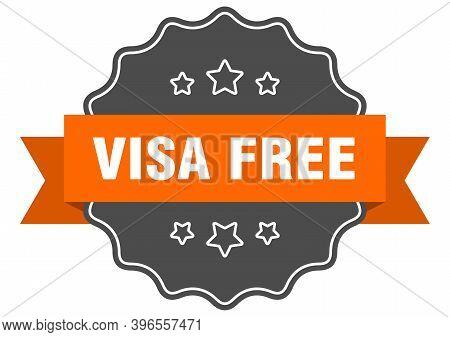 Visa Free Label. Visa Free Isolated Seal. Sticker. Sign