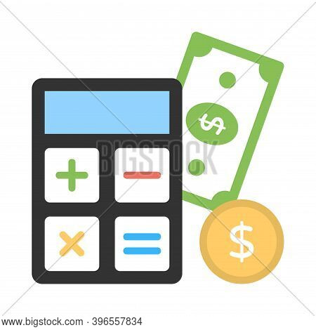 Commerce Cost Calculation Icon In Flat Style. Calculator And Money Sign.