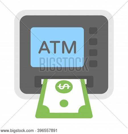 Cash Money Withdrawal From Atm. Dollar Sign. Banking, Finance Concept. Flat Icon Illustration.