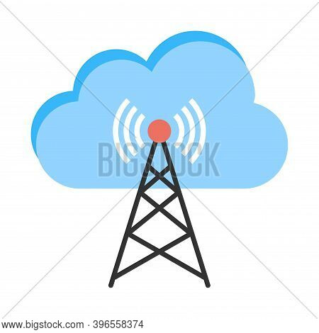 Phone Antenna Tower Icon With Cloud Symbol. Wirelesss Gsm Signal Transmitter.