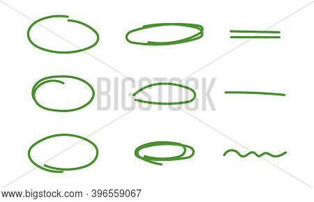 Set Of Highlights And Underline. Green Hand Drawn Elements For Selecting Text.