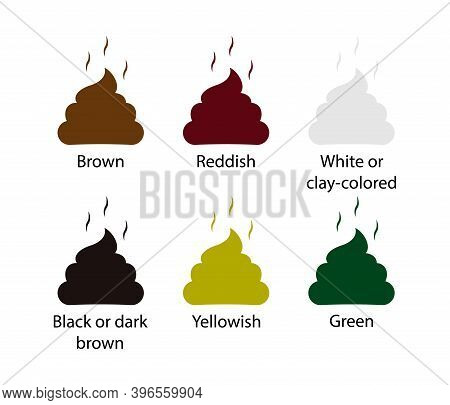 Set Colored Poops Icon. Stinky Poo On White Background