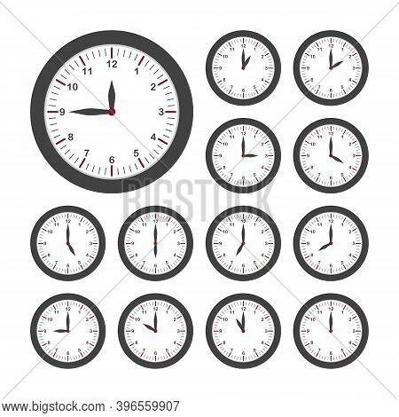 Set Of Round Clocks For Every Hour. Analog Clock With Circle Shape, Time And Minutes.