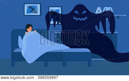 Fear Of Darkness. Little Child Scared Of Spooky Monster From Nightmare. Female Character Lying In Be