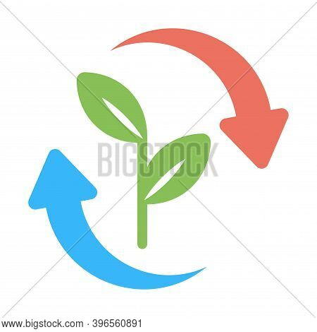 Tree Or Plant With Reuse Icon. Sustainable Environment Sign.