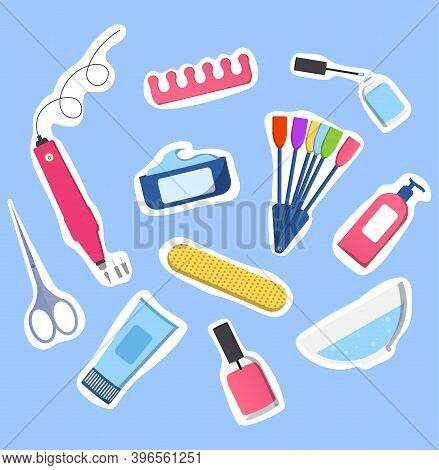 Set Of Manicure-pedicure Tools Isolated On Blue Background. Nail Polish, Scissors, Manicure Equipmen