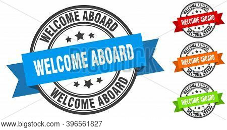 Welcome Aboard Stamp. Round Band Sign Set. Label