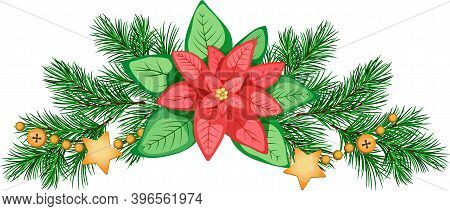 Christmas Composition With Poinsettia, Fir Branches, And Golden Garland. Merry Christmas Clip Art. P