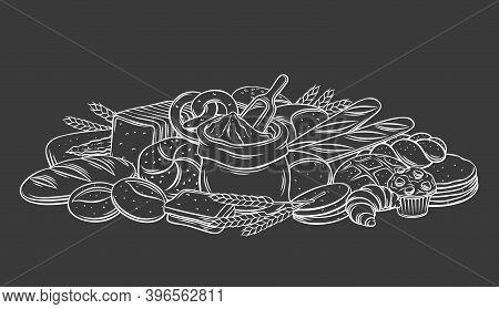 Breads, Baked Products On Black Chalkboard, Vector Monochrome Outline Hand Drawn Illustration In Ske