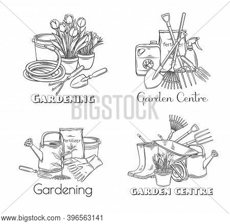 Gardening Tools Vector Outline Hand Drawn Monochrome Set With Lettering For Design Garden Center. Ho