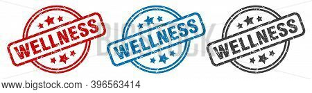 Wellness Stamp. Wellness Round Isolated Sign. Wellness Label Set