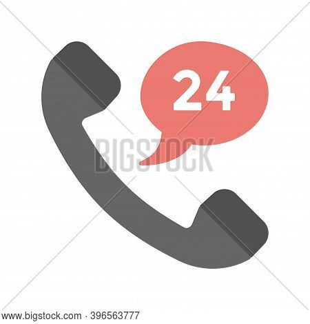 24/7 Phone Support Icon In Flat Style. 24 Hours Open Call Service. Non-stop Customer Support, Servic