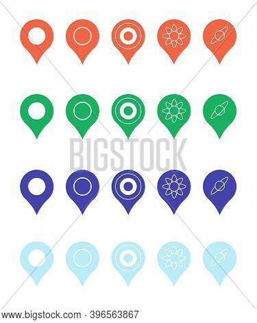 Pins For Map, Location Symbol, Navigation Position Marker Travel Place Pointer App Vector Illustrati