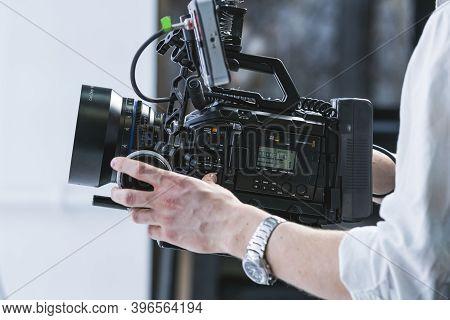 Kyiv, Ukraine - November, 2020: Close-up Of Male Hand Holding Video Camera Black Magic Pocket Cinema